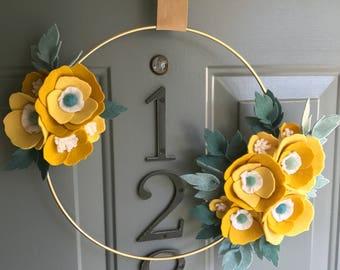 Felt Brass Hoop Floral Wreath Handmade Door Wall Decoration - Goldenrod 12in