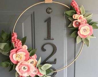 Felt Brass Hoop Floral Wreath Handmade Door Wall Decoration - Coral 12in