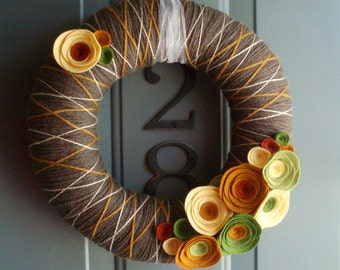 Yarn Wreath Felt Handmade Door Decoration -  Fall In Line 12in