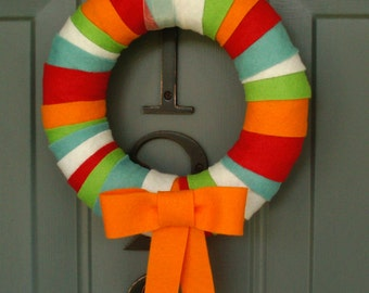 Wreath Felt Handmade Door Decoration - Brite Stripe 8in