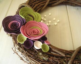 Grapevine Wreath Felt Handmade Door Decoration 12in