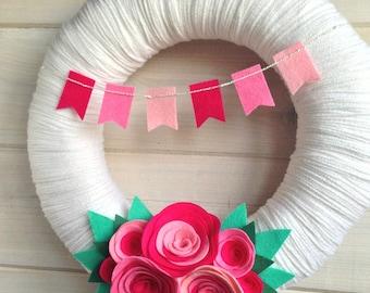 Yarn Wreath Felt Handmade Door Decoration - Pretty In Pink 12in