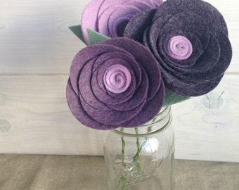 Handmade Felt Flower Stems - Rose (Bunch of 3 stems!)