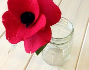 Handmade Felt Flower Stems - Poppy (Bunch of 3 stems!)