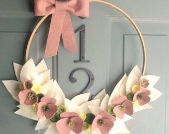 """Handmade Felt Hoop Door Wreath Decoration - Adorn 14"""""""