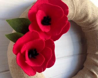 Burlap & Felt Wreath Handmade Door Decoration -  Poppy 12in