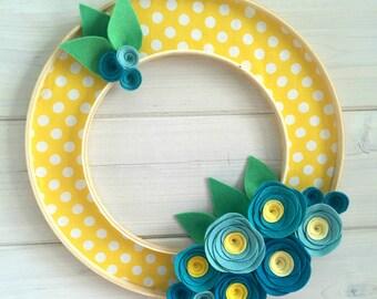 """Handmade Felt Fabric Hoop Door Wreath Decoration - Blueberries 12"""""""