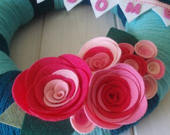 Yarn Wreath Handmade Front Door - Bubblegum 12in.
