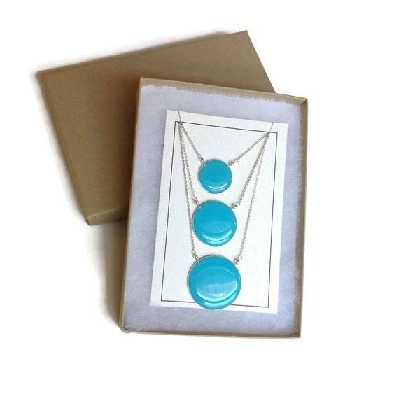 Aegean Three Tier Bib Necklace Ombr\u00e9 Blue Three Circle Necklace Three Strand Necklace Statement Necklace Carla De La Cruz Jewelry