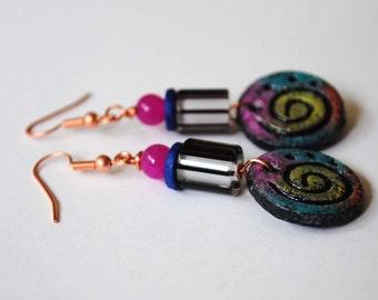 Psychedelic Earrings, Striped Earrings, Spiral Earrings, Colorful Polymer Clay Earrings, Funky Mod Earrings, Unique Glass Bead Earrings