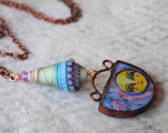 Moon Necklace, Celestial Necklace, Lampwork Necklace, Whimsical Necklace, Hand Painted, Pendant Necklace, Copper Pendant, OOAK Jewelry