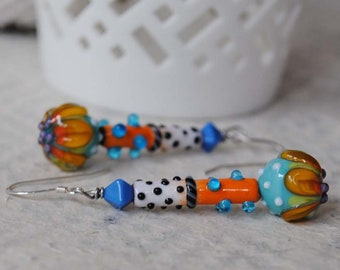 Colorful Flower Earrings, Funky Enamel Earrings, Modern Chic Earrings, Lampwork Glass Earrings, Artisan Enamel, Floral Earrings, Polka Dot