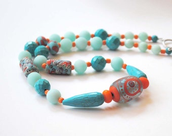 Turquoise Blue Beaded Necklace, Blue Abstract Necklace, Lampwork Glass Necklace, Stone Bead Necklace, Unique Artisan Necklace