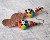 Etched Copper Sugar Skull Earrings, Colorful Rainbow Lampwork Earrings, Halloween Flower Earrings, Day of Dead Teardrop Skull Earrings