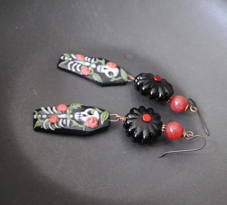 Black Lampwork Flower Earrings Black Coffin Earrings OOAK Spooky Red Rose Earrings Day of Dead Earrings Porcelain Skeleton Earrings