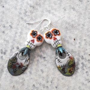 Day of the Dead Calaveras Jewelry Artisan Enamel Flames Flaming Skull Earrings Halloween Jewelry Sugar Skull Earrings Polka Dots