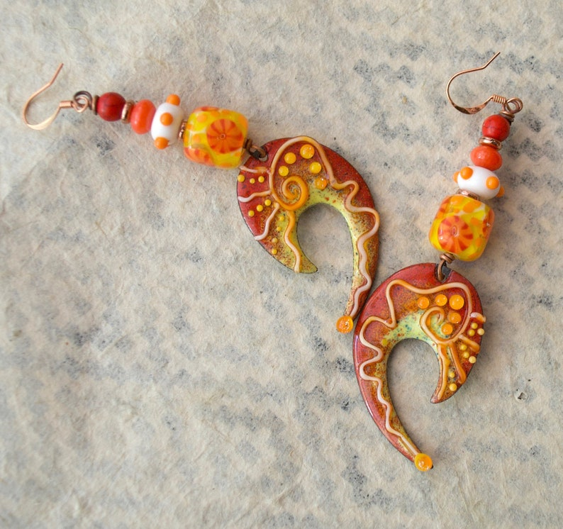 Funky Bold U Earrings Orange Hook Shaped Enamel Earrings Spotted Earrings Eye Catching Statement Earrings Artisan Lampwork Earrings