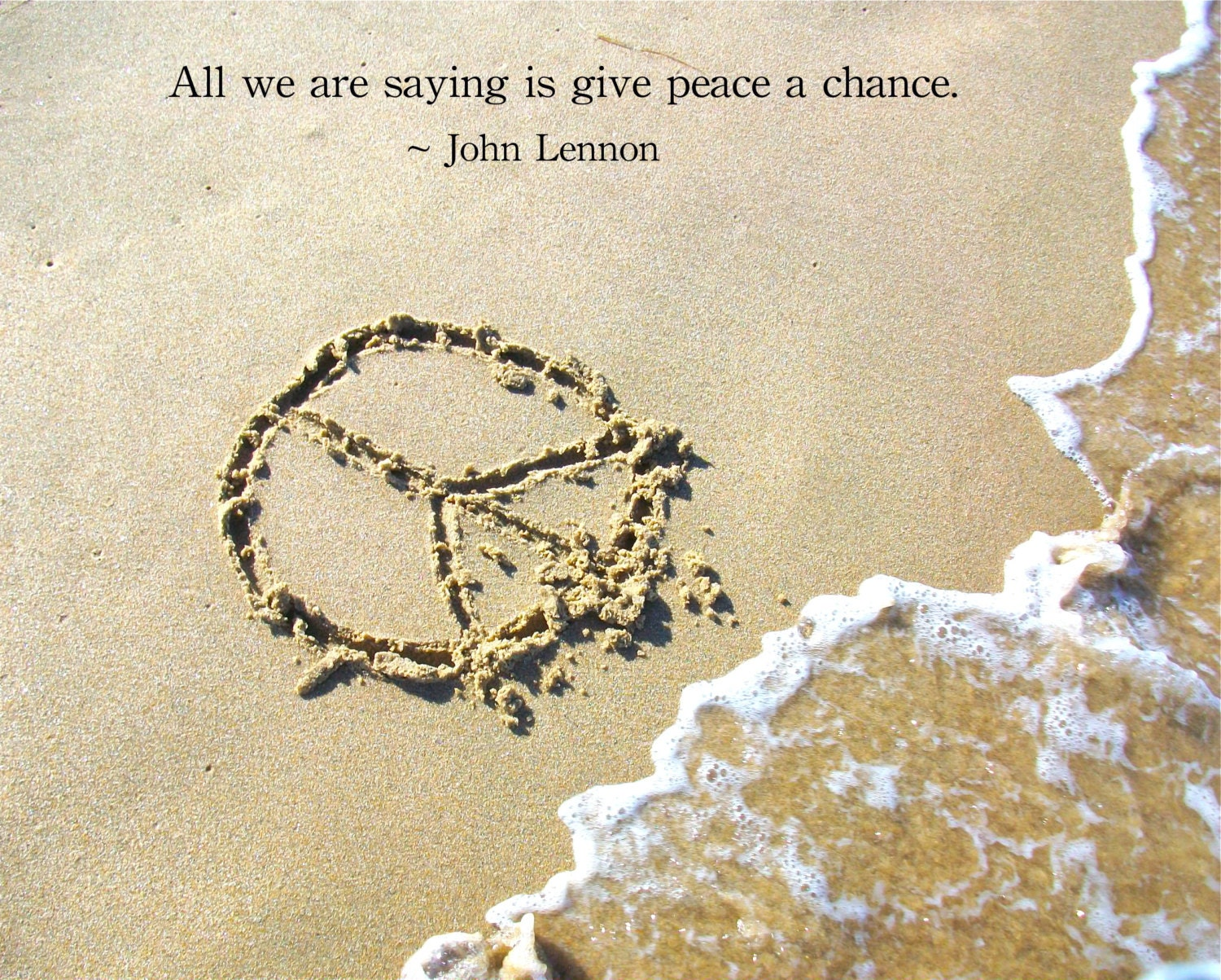Beach Peace Sign And John Lennon Peace Quote Print Etsy