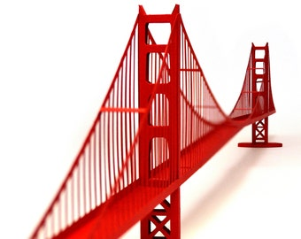 GOLDEN GATE BRIDGE Architecture Paper Model Kit San Francisco Art Deco Papercraft 3D Art Supplies Back To School Project