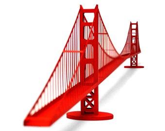 GOLDEN GATE BRIDGE Architecture Paper Model Kit San Francisco Art Deco Papercraft 3D Art Supplies Back To School Project
