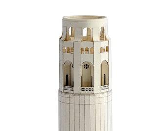 COIT TOWER San Francisco Assembled Architecture Paper Scale  Model 3D Papercraft