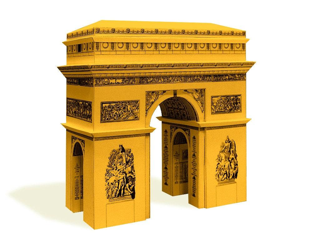 arc de triomphe paris architektur papier bausatz basteln etsy. Black Bedroom Furniture Sets. Home Design Ideas