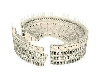 ROMAN COLOSSEUM Paper Model Kit Ancient Roman Architecture Coliseum DIY Amphitheater Cardboard School Supplies Craft Kit Gifts