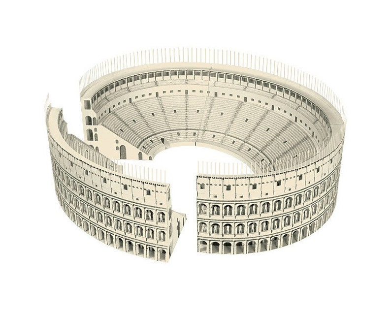 ROMAN COLOSSEUM Paper Model Kit Ancient Roman Architecture Coliseum DIY  Amphitheater Cardboard School Supplies Italy Gifts