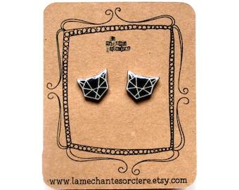 Geometric little cats - Black and white earrings - La Méchante Sorcière - love cats, kitty, kittens, pets - Origami - jewels, jewelry -