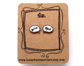 Meow bone fish bubbles - Black and white earrings - La Méchante Sorcière - love cats, kitty, kittens, pets - jewels, jewelry -