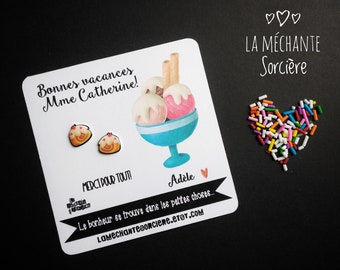 6d7f7530d Cute earrings on a customised card, La Méchante Sorcière, gratitude, love,  thank you, hypoallergenic studs, stainless steel post