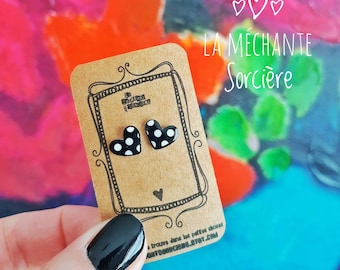 Little hearts earrings, black and white polka dots, La Méchante Sorcière, love, jewelry, gift, Stainless steel studs, vintage, retro style