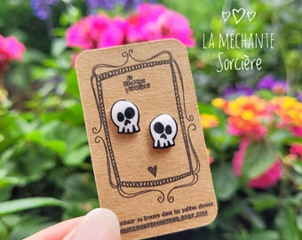 Skull, Black and white earrings, La Méchante Sorcière,  jewels, jewelry, hypoallergenic studs, Stainless, Nickel-Free, bones, gift idea