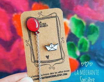 Happy birthday balloons earrings, La Méchante Sorcière, witch, love, red balloon, party, hypoallergenic studs, gift for woman, teen, girl