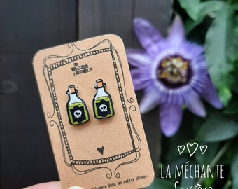 Green poison, witchy bottle, black and white skull, earrings, Halloween, La Méchante Sorcière, hypoallergenic studs, Stainless, Nickel-Free