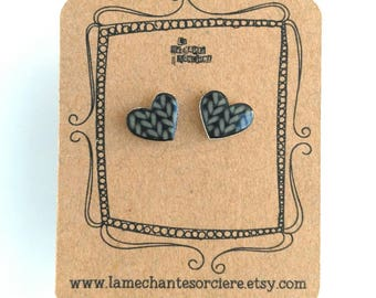 Love earrings, charcoal grey knitted heart, La Méchante Sorcière, jewels, crochet lovers, gift for her, woman, teen, knit, knitting, wool