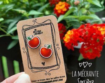 Red apple, cute earrings, La Méchante Sorcière, love, fruit lover, orchard, vegan, gift idea for her, teacher, vegan, wicked witch, Quebec