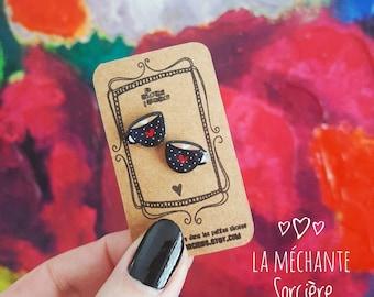 Latte coffee earrings, Black and white, polka dot, La Méchante Sorcière, espresso, funny jewels, jewelry, mug, cup, coffee lovers, barista