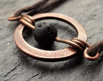 Copper Circle Necklace with Lava Stone