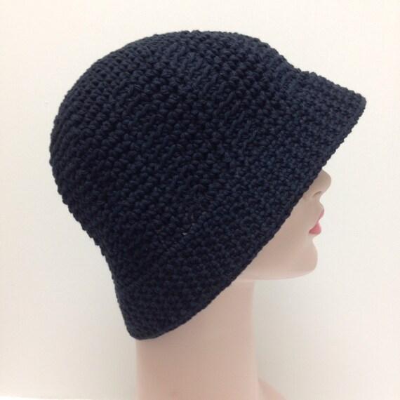 Crochet negro algodón sol sombrero grande para cáncer