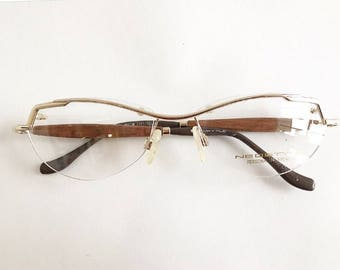 87b8d1955b4 Vintage 1990 s Gold Rimless Neostyle Eyeglasses with Wooden Temples