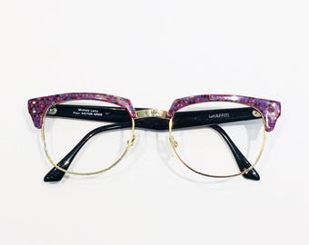 5bcfdb7f0e29b Vintage 1980 s Red Blue Mosaic Michelle Lamy for Victor Gros Browline  Eyeglasses