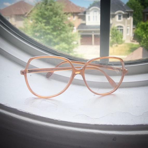 Vintage 1980's Peach Oversized Plastic Eyeglasses