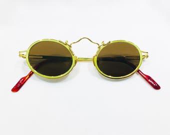 Vintage Koure Steampunk Style Round Gold Sunglasses