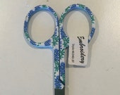 Embroidery scissors with Texas Bluebonnet Motif