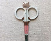 Embroidery scissors with Teddy Bear Shape- Cream, brown, and pink Teddy Bear Scissors - 3 1/2 inches