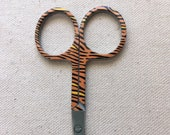 Embroidery scissors with Animal Print Tiger Motif - Brown, Orange, black Tiger Stripes - 3 1/2 inches