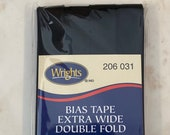 Extra Wide Double Fold Bias Tape - by Wrights  - 1/2 inch - 55 Polyester/45 Cotton -  Black 206 031