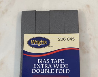 Extra Wide Double Fold Bias Tape - by Wrights  - 1/2 inch - 55 Polyester/45 Cotton -  Gray 206 045