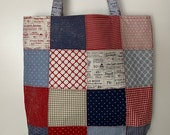 Moda - Charm Street Market Tote Kit - DIY bag Kit -  Sweet Tea by Sweetwater - navy print lining and straps with interfacing